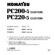 راهنمای تعمیر بیل مکانیکی کوماتسو مدل PC200-5,  PC220-5
